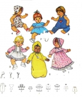 "Simplicity 7208 Doll Dress, Top, Pants, Diaper, Panties, Bunting Sewing Pattern Med 15-16"" Uncut"
