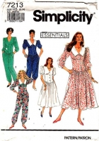 Simplicity 7213 V-Neck Shirtwaist, Curved Waist Dress, Romper & Jumpsuit Sewing Pattern 6-14 B30-36 Uncut