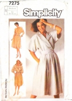 Simplicity 7275 Batwing Mock Wrap Shirtwaist Dress Sewing Pattern 10-14 B32-36 Used