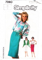 Simplicity 7280 Short Boxy Jacket, Pullover Top & Straight Skirt Sewing Pattern 16 B38 Uncut