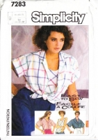 Simplicity 7283 Loose-fitting Button Front Camp Shirt Sewing Pattern 12-14 B34-36 Used