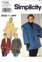 Simplicity 7346 Women's Poncho, Cloak, Cape & Fringed Jacket Sewing Pattern S-XL B40-54 Uncut