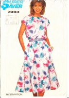 Simplicity 7393 Flared Dress with Ties at the Shoulder Sewing Pattern 10-14 B32-36 Used