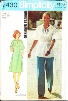 Simplicity 7430 Boho Peasant Pullover Dress or Tunic Top & Pants Sewing Pattern 12 B34 Uncut