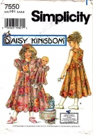 Simplicity 7550 Girls Daisy Kingdom Mid-Calf  Dress Doll Pattern 3-6 Uncut