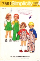 Simplicity 7591 Toddler Stretch Knit Top, Jumper Dress & Overalls Sewing Pattern .5 Uncut