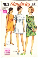 Simplicity 7603 Twiggy Puff Sleeve Dress with Shorts Sewing Pattern 13 Junior Petite B35 Used