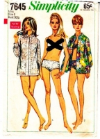 "Simplicity 7645 60s Swimsuit Bottom, Cover-up Shirt Sewing Pattern 6 Hip 32"" Used"