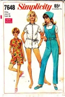 Simplicity 7648 60s Bubble Romper, Capri or Ankle Length 1960s Groovy Clam Bake Jumpsuit Sewing Pattern 16 B38 Used