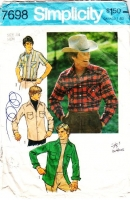Simplicity 7698 Men's Western Button Snap Front, Flap Pocket Shirt Sewing Pattern 44 Used