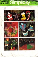 Simplicity 7736 Holiday Xmas Treeskirt, Wreath, Stuffed Ornaments Retro 70s Sewing Pattern Used