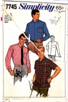 Simplicity 7745 Men's 1960s Tapered Button Front Sport Shirt Sewing Pattern 42 Neck 16 Used