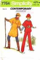 Simplicity 7764 1970s Outdoorwear Poncho, Tunic Top, Hat  & Pants Sewing Pattern 10 B32 Uncut