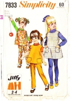 Simplicity 7833 Child's Jumper Dress, Top &  Pants Sewing Pattern 4 Used