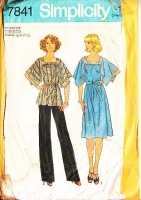 Simplicity 7841 Boho 1970s Square Neck Handkerchief Dress or Tunic Top & Pants Sewing Pattern Plus Size 22½-24½ B45-47 Used