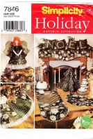 Simplicity 7846 Christmas Holiday Decorations Angel Tree Topper, Pillow, Treeskirt, Mantel Scarf Sewing Pattern Uncut