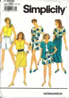 Simplicity 7888 Side-button Skirt, Pull-on Shorts & Front Button Sleeveless or Short Sleeve Top Sewing Pattern 10-16 B32-36 Uncut