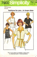 "Simplicity 7900 70s Wing Collar Short Sleeve Jacket & Tank Top Sewing Pattern Plus Size 46-52 B50-56"" Uncut"