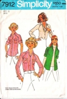 Simplicity 7912 Patch Pocket, Raglan Sleeve, Button Front Shirt Sewing Pattern 12 B34 Used