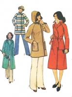 Simplicity 7936 Hooded Trench Coat  Short or Long Sewing Pattern 14 B36 Uncut