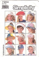 Simplicity 7984 Child's Sun Hat, Headband, Visor & Bonnet Sewing Pattern Used