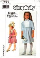 Simplicity 7986 Child's Tuxedo Bib Pullover Dress Sewing Pattern 5-6X Uncut