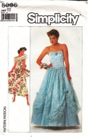 Simplicity 8006 Strapless Flounced Southern Belle Prom, Wedding, Bridesmaid Dress Sewing Pattern 12 B34 Uncut