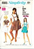 Simplicity 8065 Groovy 60s Suspender Skirt & Pullover Top Sewing Pattern 9/10 B30 Used