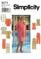 Simplicity 8074 Boxy Collarless Jacket, Sleeveless Sheath Dress, Jewel NeckTunic Top & Pants Sewing Pattern Plus Size 16-20 B38-42 Uncut