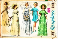 Simplicity 8144 Flutter Sleeve 1960s Wedding, Bridesmaid Dress Sewing Pattern 14 B36 Used