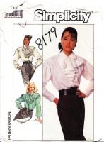 Simplicity 8179 Jabot Ruffle, Full Sleeve Steampunk Blouse Sewing Pattern 16 B38 Uncut