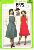 Simplicity 8192 Sleeveless, Front Zip Jumper Dress Sewing Pattern 10 B32 Used