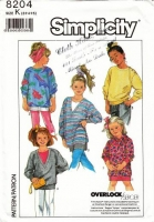 Simplicity 8204 1980s Attitude Childs Tunic Length Knit Tops Sewing Pattern 3-5 Uncut