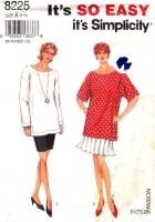 Simplicity 8225 Long, Loose Fitting Tunic Top & Pleated or Slim Pencil Skirt Sewing Pattern 8-18 B31-40 Uncut