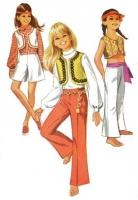 Simplicity 8227 Girls' Groovy 1960s Flower Child Pantskirt, Pants, & Bolero Jacket Sewing Pattern 14 B32 Uncut