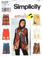 Simplicity 8228 Artworks Loose-fitting Vest Sewing Pattern L-XL B40-46 Uncut