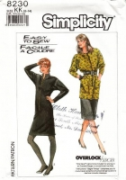 "Simplicity 8230 Front Zip, Stretch Knit, Extended Shoulder 1980s Dress & Tunic Top Sewing Pattern 8-14 B31-36"" Uncut"