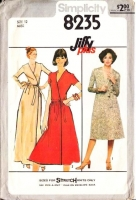 "Simplicity 8235 Knit 1970s Von Furstenburg Style Wrap Dress Sewing Pattern 12 B34"" Uncut"