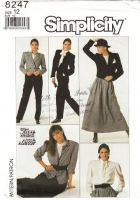 """Simplicity 8247 Pussycat Bow Blouse, Calf Length Skirt, Tapered Pants & Double Breasted Jacket Sewing Pattern 12 B34"""" Uncut"""