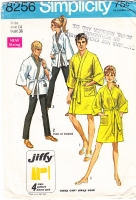 Simplicity 8256 Jiffy Thigh Length Kimono, Hopi Robe, Bathrobe Sewing Pattern 14 B36 Used