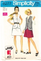 Simplicity 8277 Sleeveless V-Neck 1960s Vest Top & A-Line Skirt Sewing Pattern 14 B36 Used