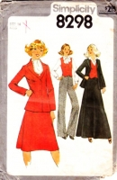 "Simplicity 8298 Fitted Vest, Princess Seam Blazer Jacket, Gored Skirt & Flared Pants Sewing Pattern 14 B36"" Uncut"