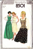 Simplicity 8301 Bohemian Square Neck 1970s Peasant Camisole Top & Full Pleated Skirt Sewing Pattern 14 B36 Used