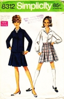 """Simplicity 8312 Short Inverted Pleat Skirt, Front Button Shirt & Lined 1960s Jacket Sewing Pattern Juniors 11/12 B32"""" Used"""