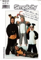 Simplicity 8331 Child's Halloween Easter Bunny, Leopard, Kangaroo, Panda Costume Sewing Pattern 2-4 Uncut