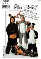 Simplicity 8331 Child's Halloween Easter Bunny, Leopard, Kangaroo, Panda Costume Sewing Pattern 2-4 Uncut