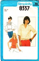 "Simplicity 8337 Pullover Peplum Hem Wing Collar Top Sewing Pattern 10 B32-36"" Used"