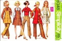 Simplicity 8348 Thigh Length Jumper Dress, Shirt & 1960s Hip-Hugger Pants Sewing Pattern 12 B34 Uncut