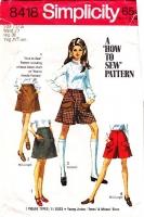 "Simplicity 8418 Cute Pockets 1960s Mini Skirt, Pantskirt & Split Skirt Sewing Pattern Juniors 15/16 Waist 27"" Used"