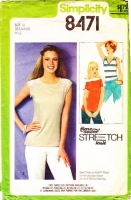 Simplicity 8471 V-Neck Stretch Knit Tops Sewing Pattern 12-16 B34-40 Used